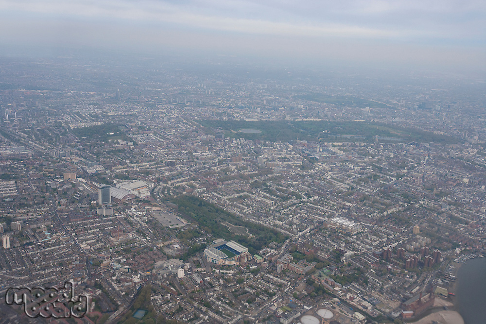 Aerial view of cityscape; London; UK