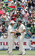 Dale Steyn  and Wayne Parnell celebrate after South Africa win during day 4 of the 4th Castle Test between South Africa and England held at The Bidvest Wanderers Stadium in Johannesburg, South Africa on the 17 January 2010.Photo by:  Ron Gaunt/SPORTZPICS