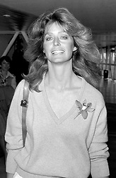 US actress Farrah Fawcett-Majors at London's Heathrow Airport when she left for Los Angeles.