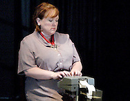 Dawn Roth Smith during a dress rehearsal of A Case of Libel at the Dayton Theatre Guild in Dayton, Wednesday, May 19, 2010.
