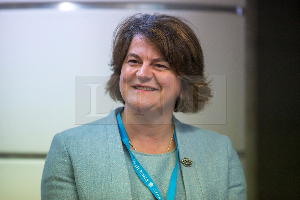 © Licensed to London News Pictures. 02/10/2018. Birmingham, UK. DUP Leader Arlene Foster at the Conservative Party Conference this morning ahead of Boris Johnson's arrival later today. Conservative party conference being held at the International Convention Centre in Birmingham. Photo credit: Andrew McCaren/LNP