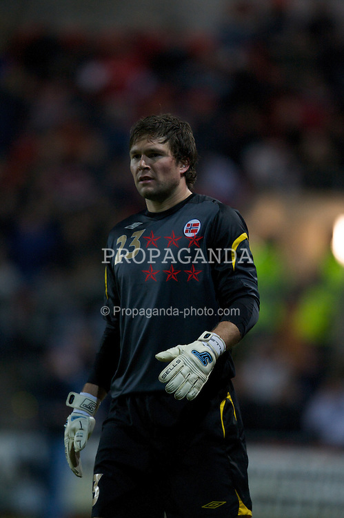 WREXHAM, WALES - Wednesday, February 6, 2008: Norway's goalkeeper Hakon Opdal in action against Wales during an international friendly match at the Racecourse Ground. (Photo by David Rawcliffe/Propaganda)