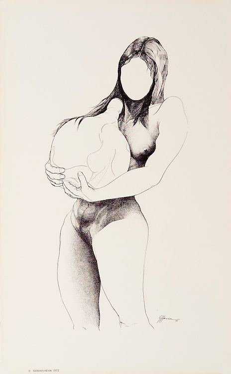Cat. #23 - Lithographic print of Pen and Ink drawing of a nude young woman carrying a bottle. Printed on smooth, heavy weight stock.<br /> Paper size is 10 x 16&quot;. Image size is approximately 7 x 13&quot; <br /> Cat. #23 - Impresi&oacute;n litogr&aacute;fica de un dibujo a plumilla de una joven desnuda cargando una botella. Impreso en papel liso y pesado.<br /> Tama&ntilde;o del papel es 10 x 16&quot;. Tama&ntilde;o de la imagen es aproximadamente 7 x 13&quot;