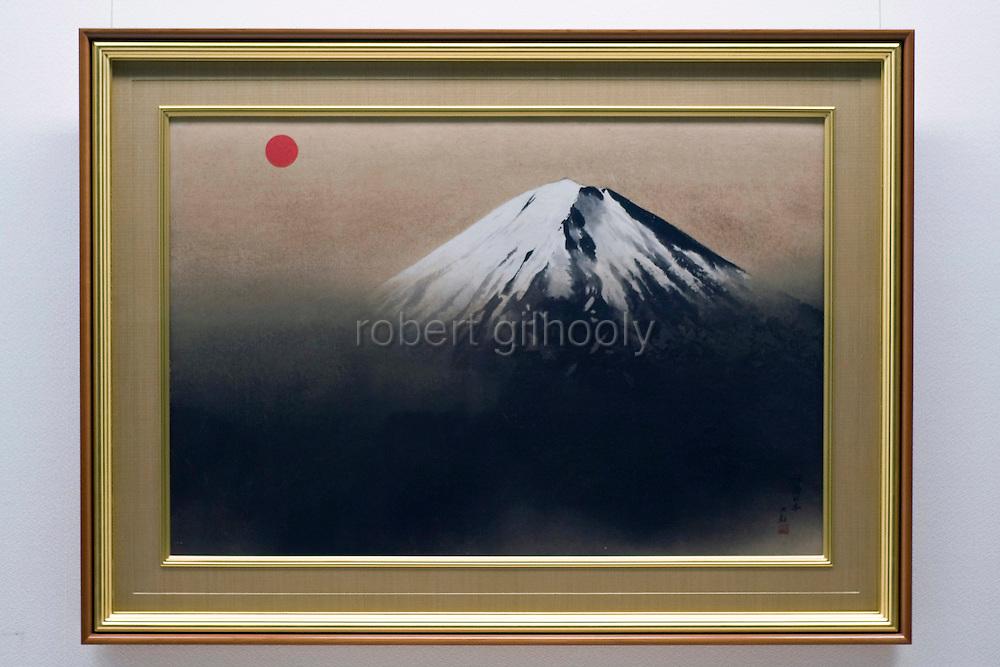 Photo shows one of Taikan Yokoyama's Mt. Fuji scenes series at the Adachi Museum of Art in Yasugi, Shimane Prefecture, Japan..Photographer: Robert Gilhooly