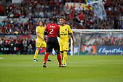 Neymar da Silva Santos Junior - Neymar Jr (PSG) greated Jordan IKOKO (En Avant De Guingamp) at the beginning of the game, Adrien Rabiot (psg) (in the background) during the French championship L1 football match between EA Guingamp v Paris Saint-Germain, on August 13, 2017 at the Roudourou stadium in Guingamp, France - Photo Stephane Allaman / ProSportsImages / DPPI