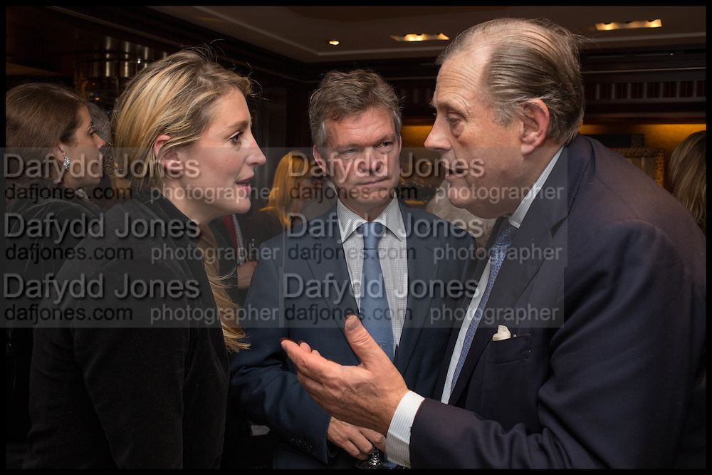 FLORA MONTGOMERY-JESEN; SOREN JESEN;  DAVID KER; Ralph Lauren host launch party for Nicky Haslam's book ' A Designer's Life' published by Jacqui Small. Ralph Lauren, 1 Bond St. London. 19 November 2014