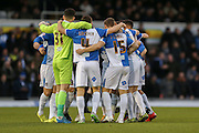 Bristol Rovers huddle up during the Sky Bet League 2 match between Bristol Rovers and York City at the Memorial Stadium, Bristol, England on 12 December 2015. Photo by Simon Davies.