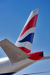 Close up of a jetliner tail at Houston's Intercontinental Airport