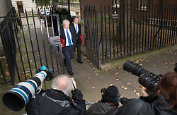 © Licensed to London News Pictures. 10/10/2017. Foreign Secretary Boris Johnson and Trade Secretary Liam Fox pass photographers as they attend the weekly cabinet meeting in Downing Street. London, UK. Photo credit: Peter Macdiarmid/LNP