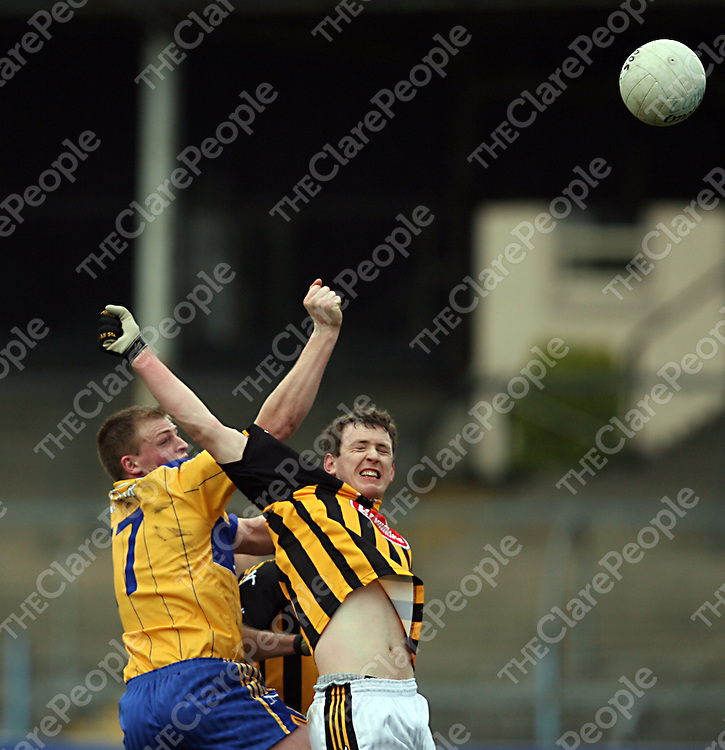 Clare's Frank O' Dea and Kilkenny's Peter Dollard contest a high ball during their National Football League clash in Cusack Park on Sunday.<br /> Photograph by Yvonne Vaughan