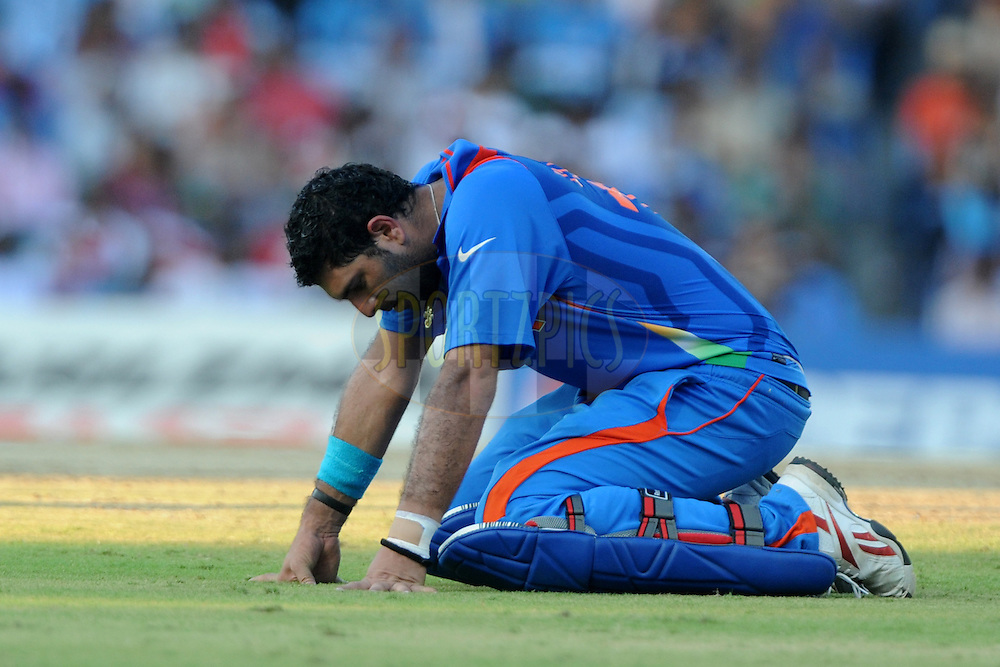 Yuvraj Singh of India  during the ICC Cricket World Cup match between India and The West Indies held at the MA Chidambaram Stadium in Chennai, Tamil Nadu, India on the 20 March 2011.Photo by Pal Pillai/BCCI/SPORTZPICS