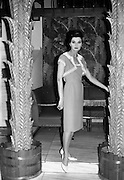 "12/02/1963<br /> 02/12/1963<br /> 12 February 1963<br /> Irene Gilbert Fashion show at the Gresham Hotel, Dublin. Picture shows ""Rustproof"", coral crepe evening dress and bolero."