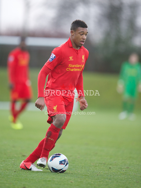 KIRKBY, ENGLAND - Monday, January 14, 2013: Liverpool's Jordan Ibe in action against Southampton during the Under 21 FA Premier League match at the Kirkby Academy. (Pic by David Rawcliffe/Propaganda)