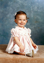 21 May 2015. Laurel, Mississippi.<br /> Collect photos of plus size model Tess Holliday (formerly known as Tess Munster, née Ryann Hoven) in her formative years from a family album. Tess as an infant.<br /> Photo credit; Tadlock via Varleypix.com