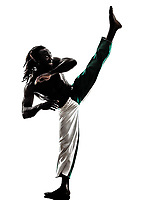 one black man dancer dancing capoeira on white background