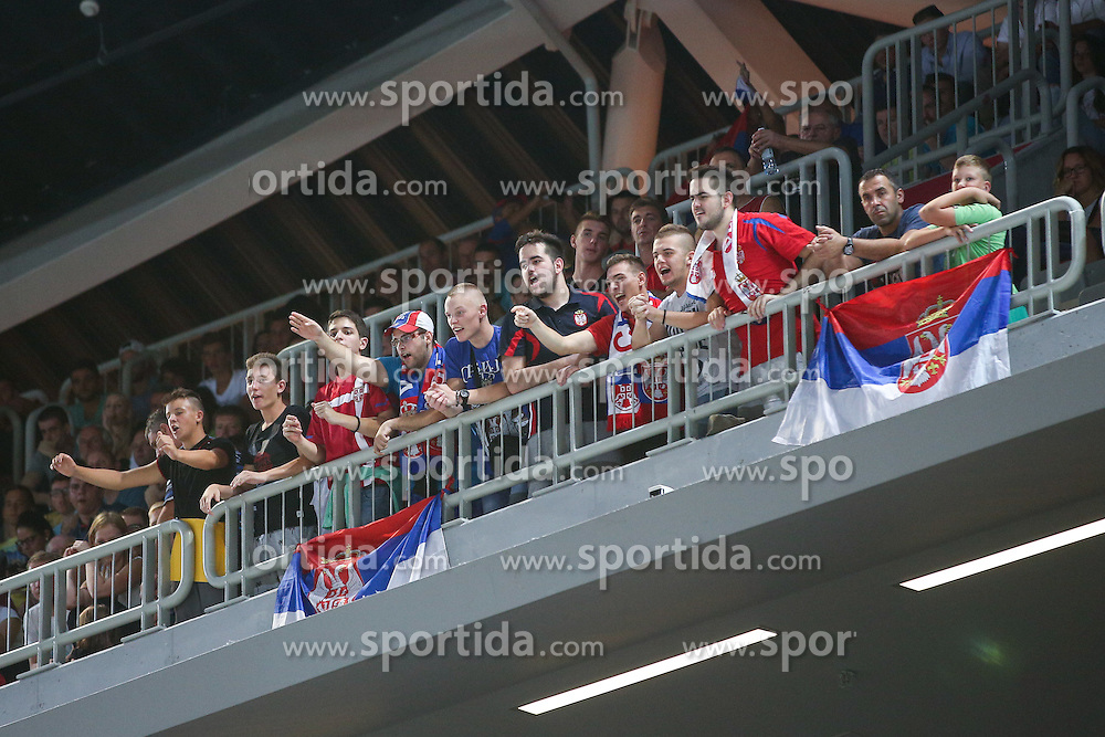 Fans of Serbia at friendly basketball match between National teams of Slovenia and Serbia, on August 27 in SRC Stozice, Ljubljana, Slovenia. Photo by Matic Klansek Velej / Sportida August 27, 2015