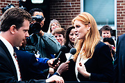 Sarah Ferguson, the Duchess of York, speaks to the media following a visit to Weyanoke Elementary school October 20, 1995 in Alexandria, Virginia. The duchess watched the students take an eye exam and will later attend the International Eye Foundations Eye Ball to raise funds for improving eye care for children.