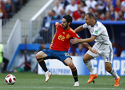 July 1, 2018 - Moscow, Russia - Round of 16 Russia v Spain - FIFA World Cup Russia 2018.Isco (Spain) and Sergey Ignashevich (Russia) at Luzhniki Stadium in Moscow, Russia on July 1, 2018. (Credit Image: © Matteo Ciambelli/NurPhoto via ZUMA Press)