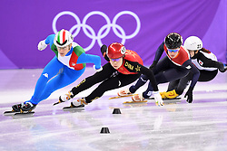 PYEONGCHANG, Feb. 10, 2018  China's Zhou Yang (2nd L) competes during the women's 3000m relay heat of short track speed skating event of 2018 PyeongChang Winter Olympic Games at Gangneung Ice Arena, South Korea, Feb. 10, 2018. China advanced to the final in a time of 4:05.315 and set a new Olympic record of the event. (Credit Image: © Ju Huanzong/Xinhua via ZUMA Wire)