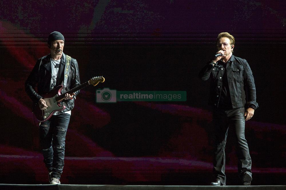 June 4, 2017 - Chicago, Illinois, U.S - THE EDGE and BONO of U2 during 30th Anniversary of the The Joshua Tree Tour at Soldier Field in Chicago, Illinois (Credit Image: © Daniel DeSlover via ZUMA Wire)