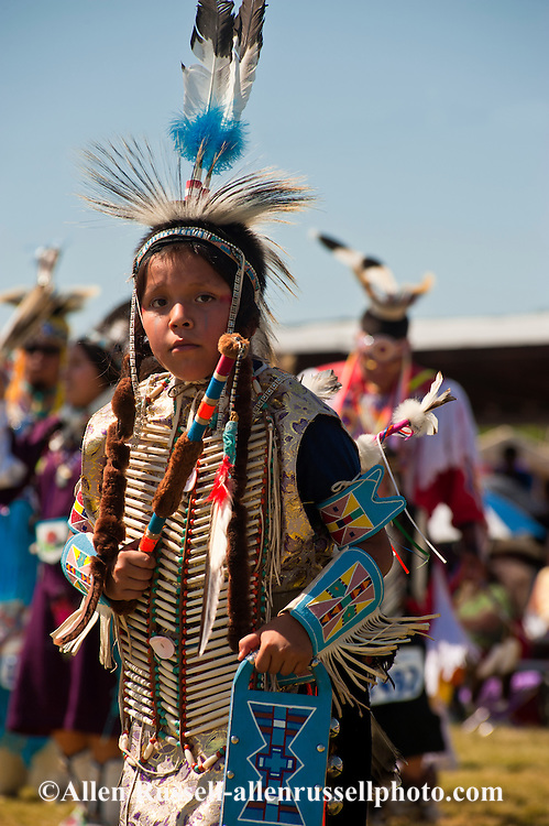 Traditional dancer, Kid, Crow Fair powwow, Crow Indian Reservation, Montana