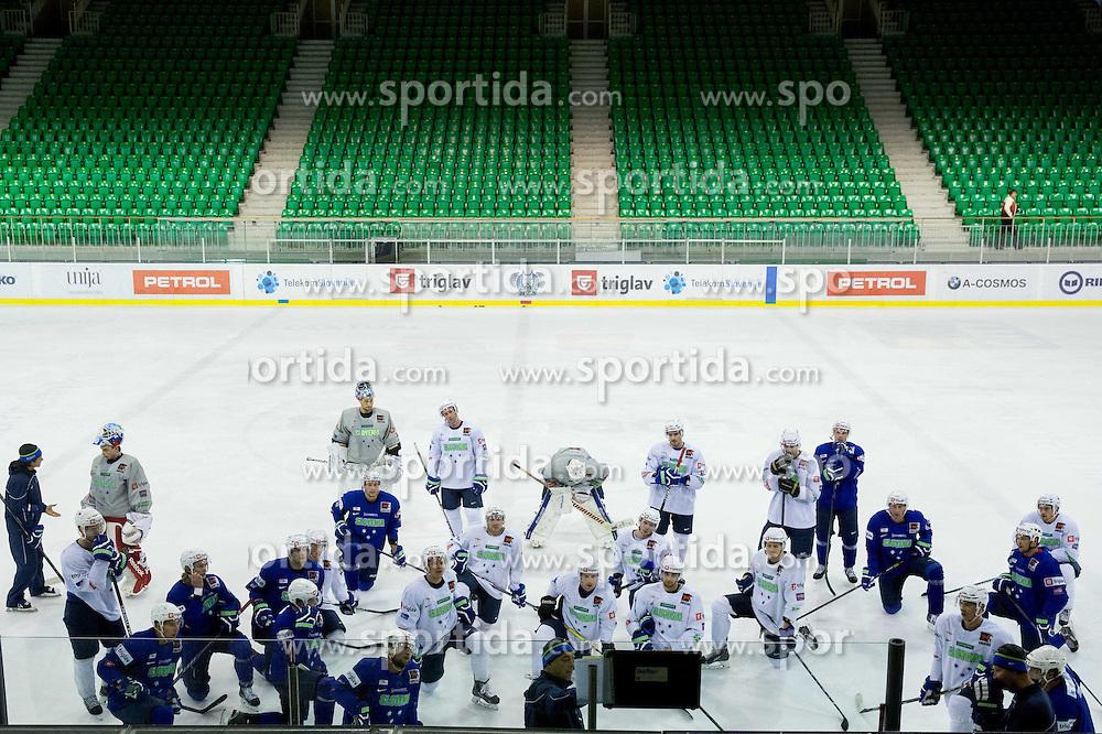 Players during practice session of Slovenian National Ice Hockey Team prior to the IIHF World Championship in Ostrava (CZE), on April 21, 2015 in Hala Tivoli, Ljubljana, Slovenia. Photo by Vid Ponikvar / Sportida