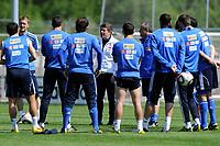 Fotball<br /> Trening Hellas<br /> 24.05.2010<br /> Bad Ragaz Sveits<br /> Foto: Gepa/Digitalsport<br /> NORWAY ONLY<br /> <br /> FIFA Weltmeisterschaft 2010 in Suedafrika, Vorberichte, Vorbereitung Nationalteam Griechenland, Trainingslager. <br /> <br /> Bild zeigt Trainer Otto Rehhagel (GRE) und die Mannschaft