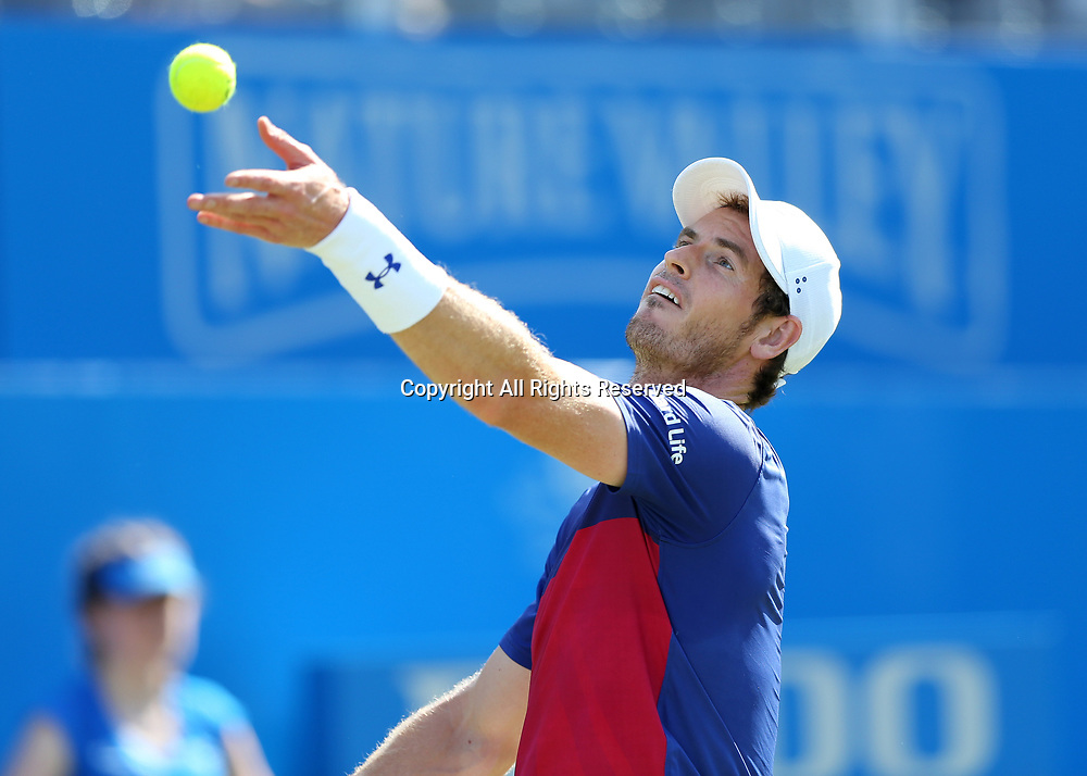 June 20th 2017, Queens Club, West Kensington, London; Aegon Tennis Championships, Day 2; Andy Murray of Great Britain serving the ball versus Jordan Thompson