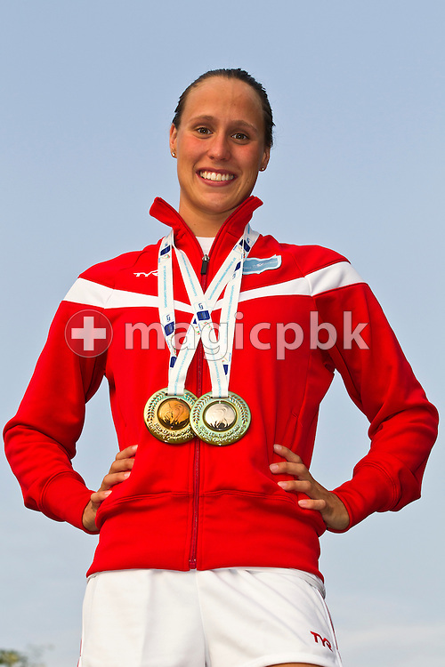 Rikke Moeller PEDERSEN of Denmark poses with her medals after the European Swimming Championship at the Hajos Alfred Swimming complex in Budapest, Hungary, Sunday, Aug. 15, 2010. (Photo by Patrick B. Kraemer / MAGICPBK)