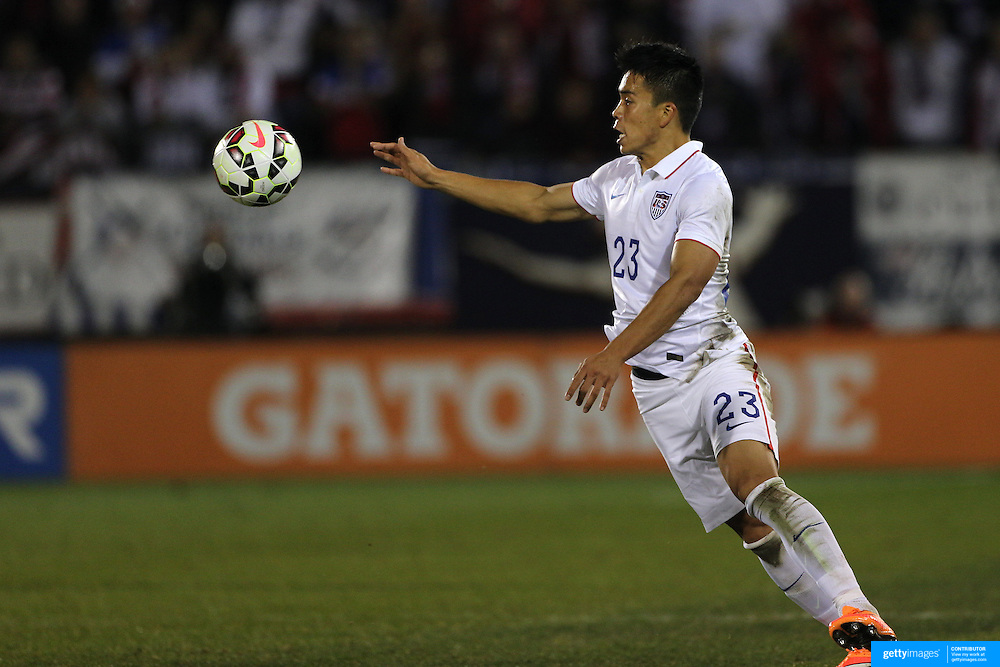 Bobby Shou Wood, USA, in action during the USA Vs Ecuador International match at Rentschler Field, Hartford, Connecticut. USA. 10th October 2014. Photo Tim Clayton