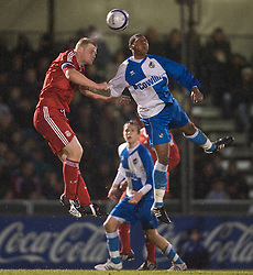 BRISTOL, ENGLAND - Thursday, January 15, 2009: Liverpool's captain Joe Kennedy in action against Bristol Rovers' Neikell Plummer during the FA Youth Cup match at the Memorial Stadium. (Mandatory credit: David Rawcliffe/Propaganda)