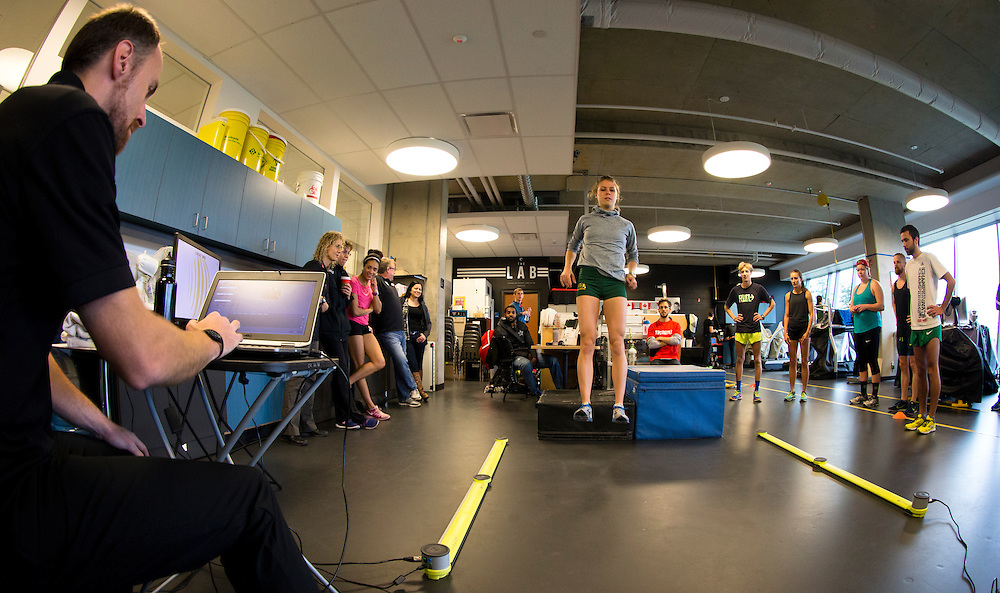 Erin Teschuk's reactive strength index is tested with a drop jump to measure neuromuscular explosiveness and tendon stiffness at the Pacific Institute for Sport Excellence on December 3rd, 2015 in Victoria, British Columbia Canada.