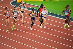 London, August 10 2017 . Marina Arzamasova, Belurus, Olha Lyakhova, Ukraine, Lindsey Butterworth, Canada, Halima Nakaayi, Uganda and Yusneysi Santiusti, Italy, Lynsey Sharp, Great Britain, in the women's 800m heats on day seven of the IAAF London 2017 world Championships at the London Stadium. © Paul Davey.