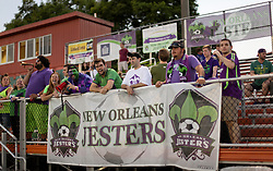 22 June 2016. New Orleans, Louisiana.<br /> NPSL Soccer, Pan American Stadium.<br /> New Orleans Jesters v Nashville FC. The loyal, Royal Court cheer on their team. Jesters emerge victorious with a 2-0 win.<br /> Photo; Charlie Varley/varleypix.com
