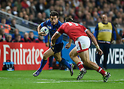 France wing Brice Dulin tries to evade a tackle from Canada wing DTH van der Merwe during the Rugby World Cup 2015 Pool D match (22) between France and Canada at Stadium MK, Milton Keynes, England on 1 October 2015. Photo by David Charbit.