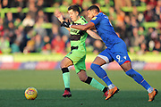 Forest Green Rovers Lloyd James(4) is challenged by Morecambe's Vadaine Oliver(9) during the EFL Sky Bet League 2 match between Forest Green Rovers and Morecambe at the New Lawn, Forest Green, United Kingdom on 17 November 2018.