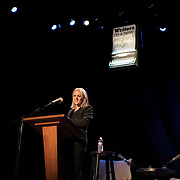 Author Jojo Moyes speaks at a Writers On A New England Stage show at The Music Hall in Portmouth, NH.
