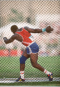 INDIANAPOLIS -  AUGUST 1987:  Luis Delis of Cuba competes in the Men's Discus event of the Athletics competition of the 1987 Pan Am Games held in  August 1987 at Indiana University in Indianapolis, Indiana.  (Photo by David Madison/Getty Images)