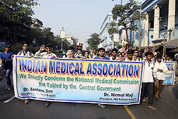 January 2, 2018 - Kolkata, West Bengal, India - Doctors of Indian Medical Association (IMA) and medical student participate in a rally to protest against National Medical Commission (NMC) bill in Kolkata. (Credit Image: © Saikat Paul/Pacific Press via ZUMA Wire)