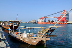 View of traditional and modern ships in port at Ras al Khaimah emirate in United Arab Emirates