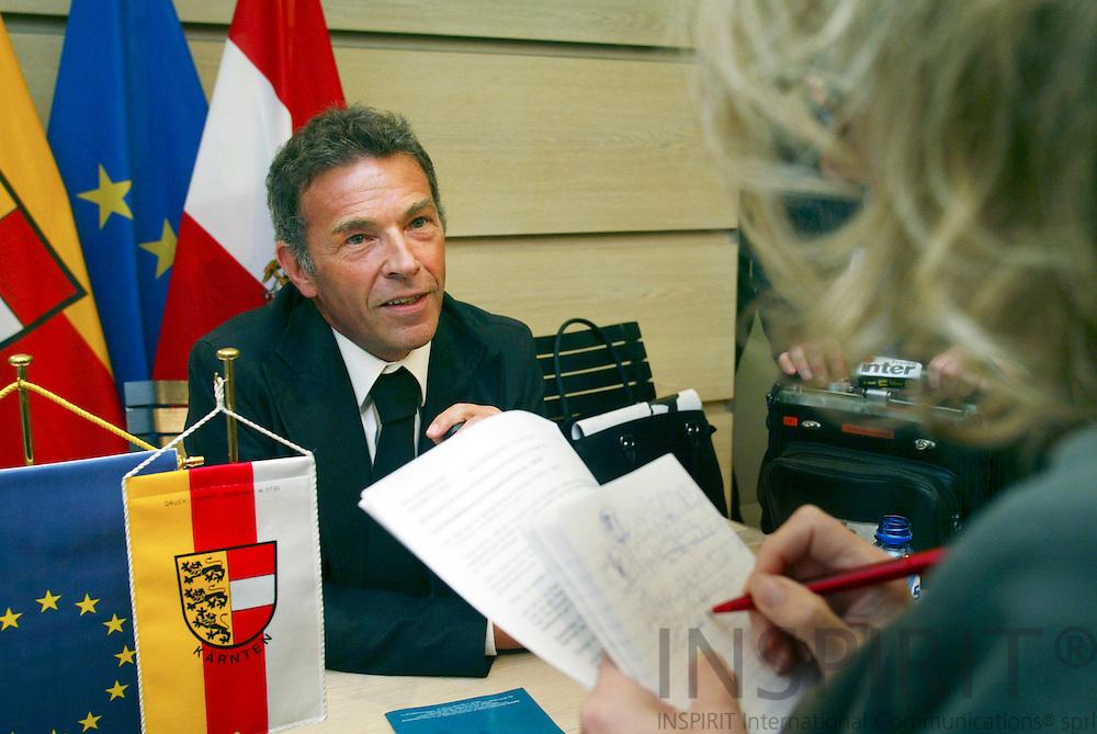 BRUSSELS - BELGIUM - 03 MAY 2006 -- Jörg (Joerg, Jorg) HAIDER, Governor of Carinthia in Austria, speaking to journalists. PHOTO: ERIK LUNTANG /