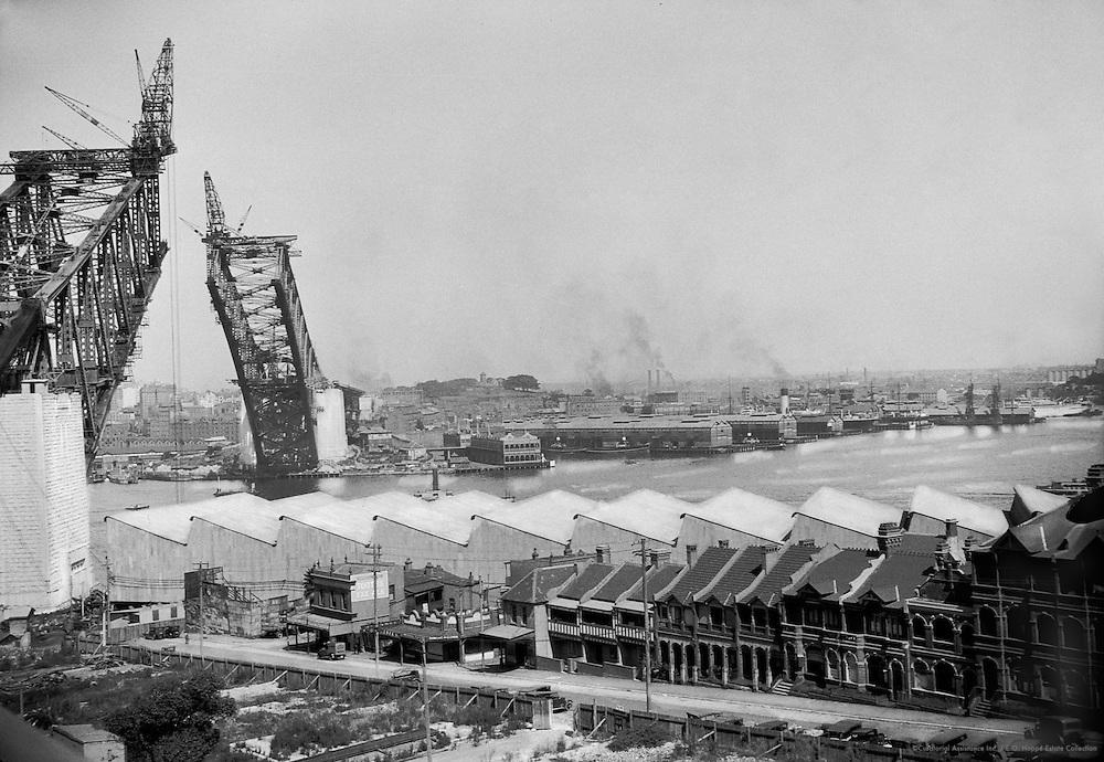 View of Sydney Harbour and the New Bridge Under Construction, Australia, 1930