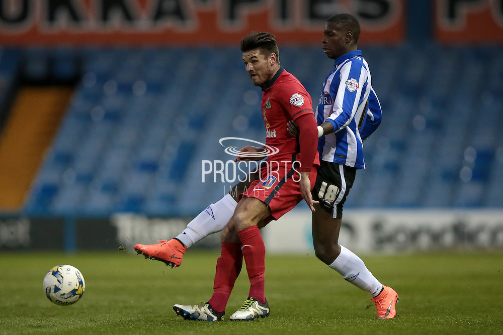 Ben Marshall (Blackburn Rovers) turns as Lucas Joao (Sheffield Wednesday) fires the ball into the box during the Sky Bet Championship match between Sheffield Wednesday and Blackburn Rovers at Hillsborough, Sheffield, England on 5 April 2016. Photo by Mark P Doherty.