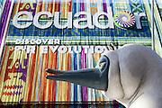 The Ecuadorian pavilion at Expo 2015, Rho-Pero, Milan, June 2015. In the foreground, the head of its mascot, Boobie, inspired to Blue-footed Sula, a bird living in Galapagos Islands. &copy; Carlo Cerchioli<br /> <br /> Il padiglione dell'Ecuador a Expo 2015, Rho-Pero, Milano, giugno 2015. In primo piano, la testa della mascotte, Boobie, ispirata a Sula piediazzurri, un uccello che vive nelle isole Galapagos.