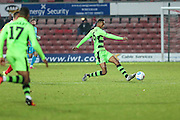 Forest Green Rovers Ethan Pinnock(16) clears the ball during the Vanarama National League match between Wrexham FC and Forest Green Rovers at the Racecourse Ground, Wrexham, United Kingdom on 26 November 2016. Photo by Shane Healey.