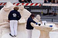 """Roma 20 Febbraio 2015<br /> La fontana della Barcaccia a Piazza di Spagna danneggiata dai tifosi del Feyenoord.  Gli archeologi  della sovrintendenza ai Beni Culturali di Roma, hanno riscontrato «danni permanenti» alla fontana seicentesca. Tecnici al lavoro sulla fontana della Barcaccia <br /> Rome February 20, 2015<br /> The Fountain of Barcaccia in Piazza di Spagna damaged by fans of Feyenoord. Archaeologists of the superintendent of Cultural Heritage of Rome, found """"permanent damage"""" to the seventeenth-century fountain. Technicians working on Fountain of Barcaccia."""