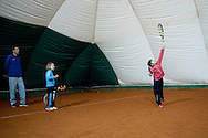 Children during tennis training session at Tie Break Tennis Club in Warsaw.<br /> <br /> Poland, Warsaw, October 10, 2013<br /> <br /> Picture also available in RAW (NEF) or TIFF format on special request.<br /> <br /> For editorial use only. Any commercial or promotional use requires permission.<br /> <br /> Mandatory credit:<br /> Photo by © Adam Nurkiewicz / Mediasport