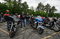 "Riders gathered at Laconia Harley in Meredith for the ""Ride to the Sky"" on Thursday morning with the Winnipesaukee Chapter of Harley Davidson owners group.  (Karen Bobotas/for the Laconia Daily Sun)"