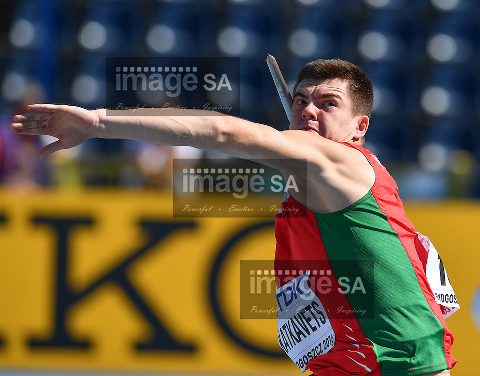 BYDGOSZCZ, POLAND - JULY 22: Aliaksei Katkavets of  Belarus in the qualification round of the mens javelin during day 4 of the IAAF World Junior Championships at Zawisza Stadium on July 22, 2016 in Bydgoszcz, Poland. (Photo by Roger Sedres/Gallo Images)