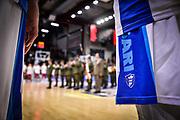 Banda della Brigata Sassari, Logo Banco di Sardegna Dinamo Sassari<br /> Banco di Sardegna Dinamo Sassari - AX Armani Exchange Olimpia Milano<br /> Legabasket LBA Serie A Postemobile 2018-2019<br /> Sassari, 16/12/2018<br /> Foto L.Canu / Ciamillo-Castoria